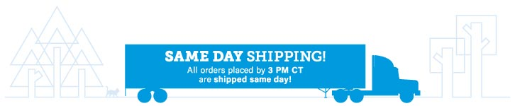 Same Day Shipping on all orders placed by 3pm ct