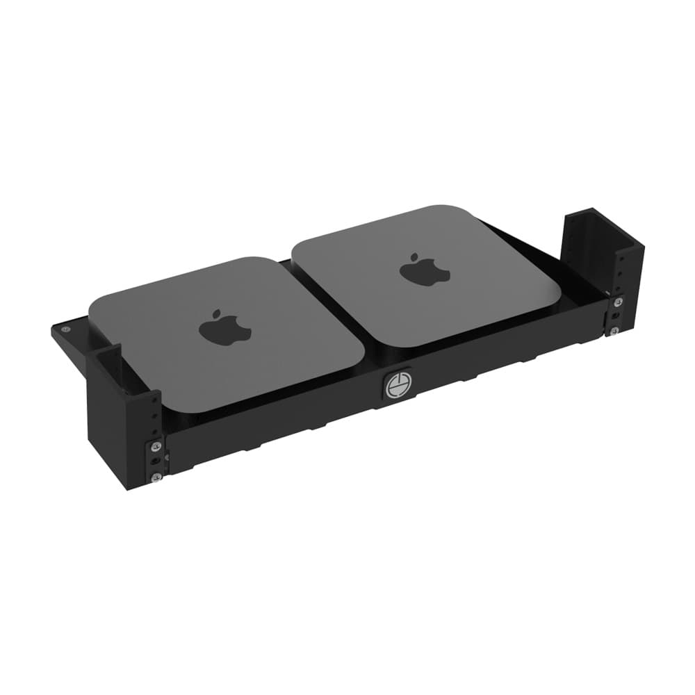 1U 2-Post Rack Mount Shelf for Apple Mac Mini (3rd and 4th Generation)